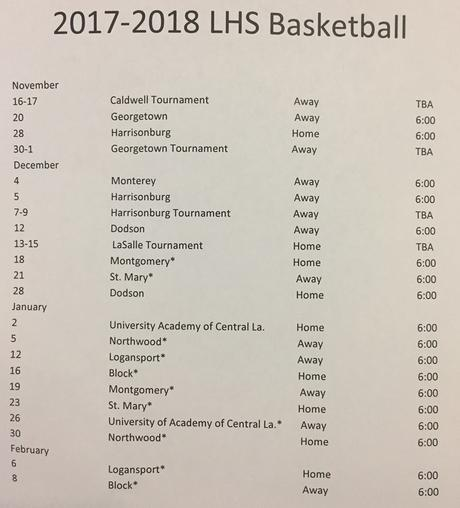 LHS BASKETBALL SCHEDULE 2017-18